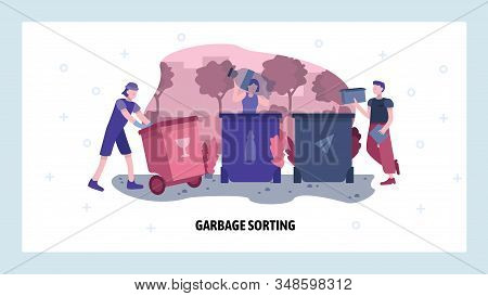 Garbage Sorting Concept. People Sort And Separate Waste For Recycle. Vector Web Site Design Template