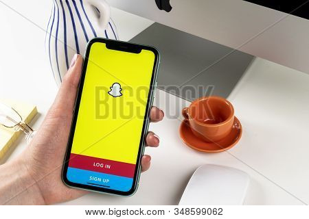 Helsinki, Finland, January 30, 2020: Snapchat Application Icon On Apple Iphone 11 Smartphone Screen