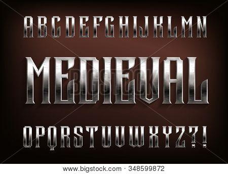 Medieval Alphabet Font. Scratched Metal Vintage Letters. Stock Vector Typescript For Your Design.