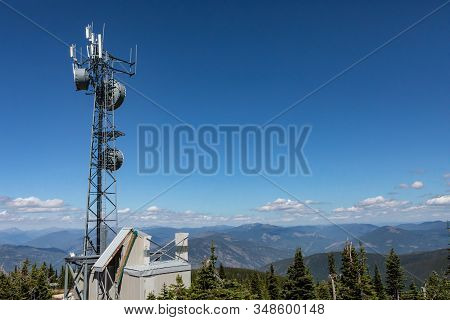 Telecommunications Tower Located High Up On The Hilltop Of Kootenay Valley Mountains, In Creston, Br