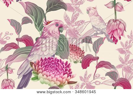 Tropical Seamless Floral Pattern. Exotic Birds Parrots On Branches Of Tree. Nature Illustration Vint