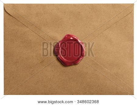 Old letter envelope with wax seal isolated with clipping path included