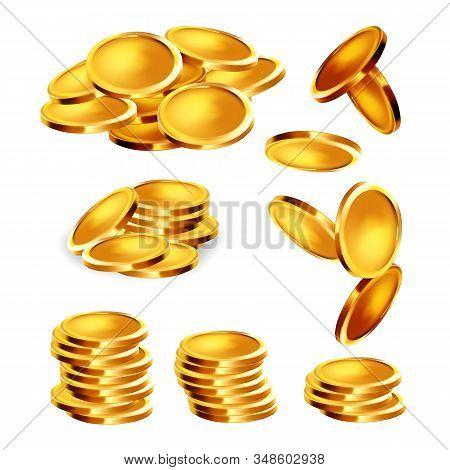 Golden Coin Stack, Heap And Falling Set Vector. Collection Of Precious Gold Metallic Money Cash Coin