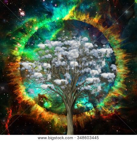 The clouds tree. Circle of fire in vivid space. 3D rendering