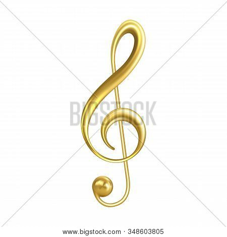 Treble Clef Musical Symbol Golden Color Vector. Classic Treble Clef In Modern Notation And Used For