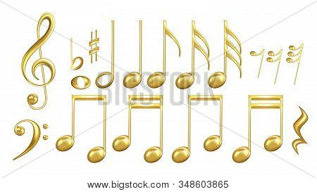 Musical Notes Symbols In Golden Color Set Vector. Collection Of Classic Music Minim And Crotchet, Qu