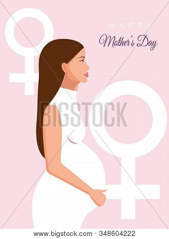 International Mother\'s Day. Mothersday, 8 march, Mother\'s day background, Mothers day banners, Mother\'s day flyer. Background with silhouette of pregnant woman. Womens Day. Young pregnant woman. Mothers background for stories, banner, mothers backgroun