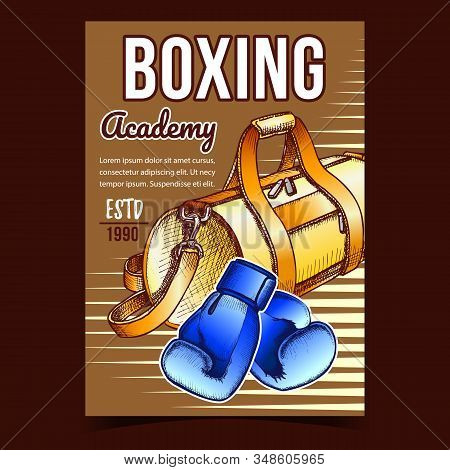 Boxing Sport Academy Advertising Banner Vector. Box Gloves Constructed Of Premium Leather Long-lasti