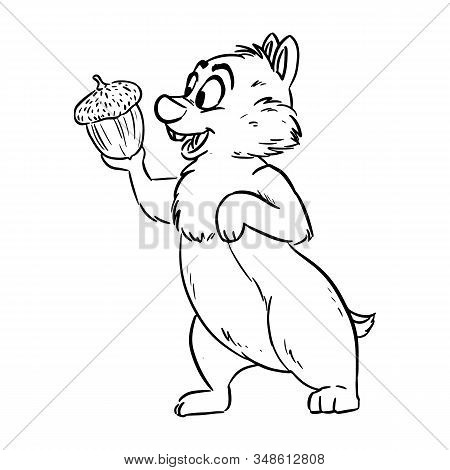Chipmunk Holding An Acorn Happily. Ute Cartoon Style Illustration Doodle. Comic Style Art For Colori