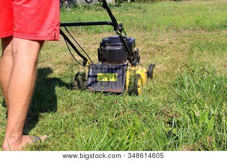 Lawn Mower. Mow The Lawns. Man Mows The Grass.