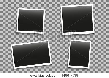 Set Of Photo Frames Mockup With Shadow On Transparent Background. Foto Album Memmory. Template Decor