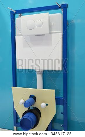 Built-in Toilet In House Bathroom Without Toilet Bowl. Built-in Toilet Fix And Installation.