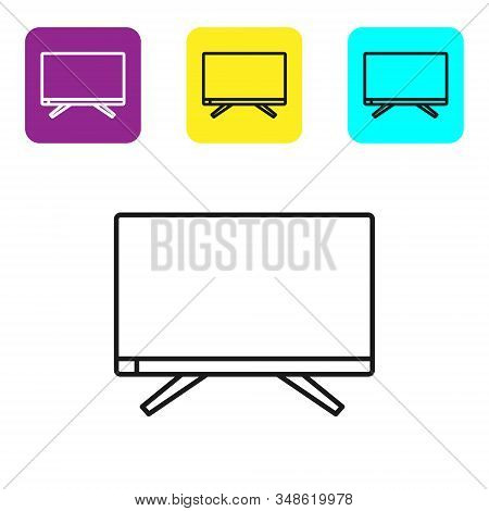 Black Line Smart Tv Icon Isolated On White Background. Television Sign. Set Icons Colorful Square Bu