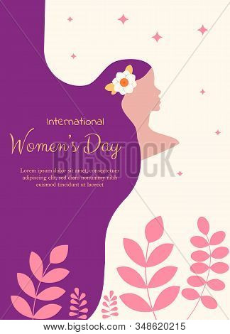 Elegant Greeting Card Design With Illustration Of Young Girl For Happy Womens Day Celebration. Happy