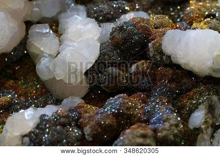 Calcite And Pyrite Mineral Texture As Very Nice Background