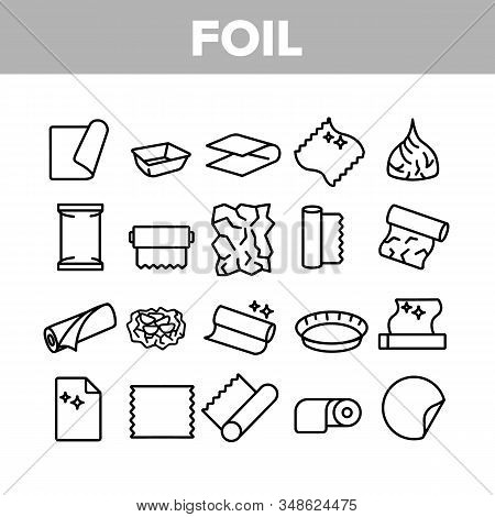 Foil List For Cooking Collection Icons Set Vector Thin Line. Aluminium Foil Container And Plate, Scr
