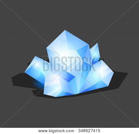 Crystalline Stone Or Gem And Precious Gemstone For Jewellery. Simple Crystal Symbol With Reflection.