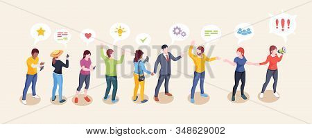 Audience Influence, Social Opinion Leader And Media Influencer Creative Vector Concept. Influencer W