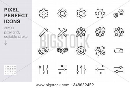 Gear, Cogwheel Line Icons Set. App Settings Button, Slider, Wrench Tool, Fix Concept Minimal Vector