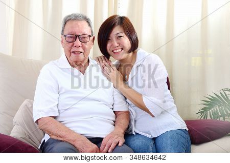 Senior Man And Daughter. Happy Asian Family Senior Father And Adult Offspring Having Fun Time At Ind