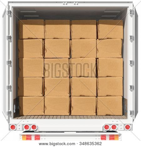 Many moving boxes in a freight forwarder truck when moving (3d rendering)