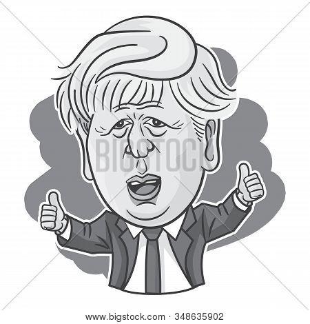 London, Uk, 31 Jan, 2020, Boris Johnson Vector Caricature For Brexit Promise - Black And White Colou