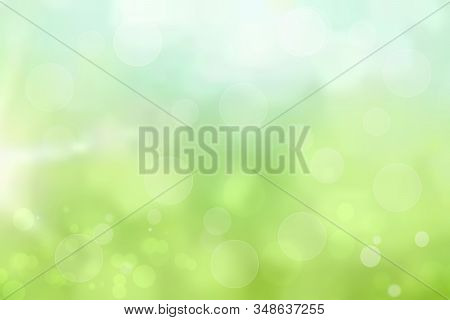 Abstract Gradient Light Green Blue Pastel Shiny Blurred Background Texture With Circular Bokeh Light