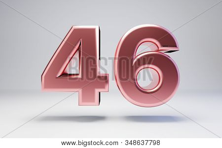 Rose Gold Number 46 Isolated On White Background. 3d Rendered Glossy Metal Digits For Poster, Banner
