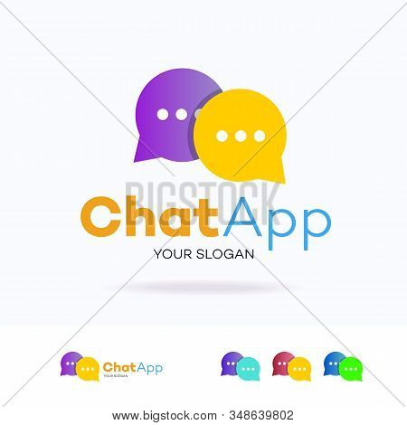 Chat Logotype Flat Style For Community, Chat Bot, Chatting Technology, Social Media, Support