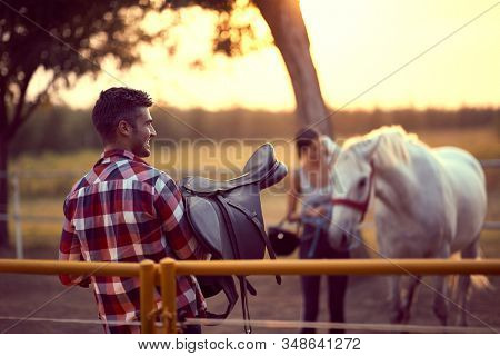 Handsome man carrying a horse saddle as his female colleague leads the horse towards him