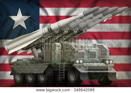 Tactical Short Range Ballistic Missile With Arctic Camouflage On The Liberia Flag Background. 3d Ill