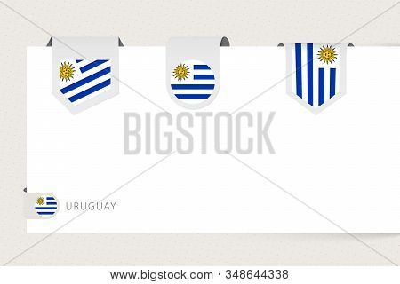 Label Flag Collection Of Uruguay In Different Shape. Ribbon Flag Template Of Uruguay Hanging From Pa