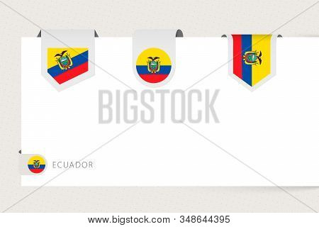 Label Flag Collection Of Ecuador In Different Shape. Ribbon Flag Template Of Ecuador Hanging From Pa