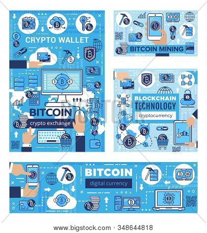 Bitcoin Cryptocurrency Mining, Blockchain Technology And Cryptocoin Money Exchange. Vector Bit Coin