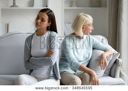 Stubborn Adult Daughter And Senior Mom Avoid Talking After Fight