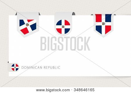 Label Flag Collection Of Dominican Republic In Different Shape. Ribbon Flag Template Of Dominican Re