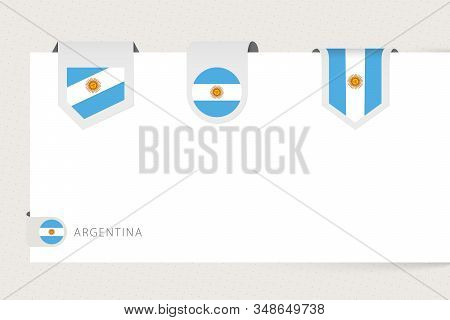 Label Flag Collection Of Argentina In Different Shape. Ribbon Flag Template Of Argentina Hanging Fro