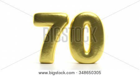 70 Seventy Number. Glossy, Sparkling And Gold Color Balloon Of Numeral 70 Isolated On White Backdrop