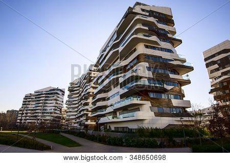 Milan, Italy - January 31, 2020: Citylife Hadid Residences Building By Zaha Hadid. The New Commercia