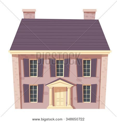 Urban Retro Colonial Style Building Cartoon Vector Illustration. Old Stone Residential And Governmen