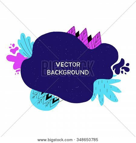 Light Blue, Vibrant And Amaranth Purple Paint Blobs. Wavy Colourful Shapes And Geometric Doodles For