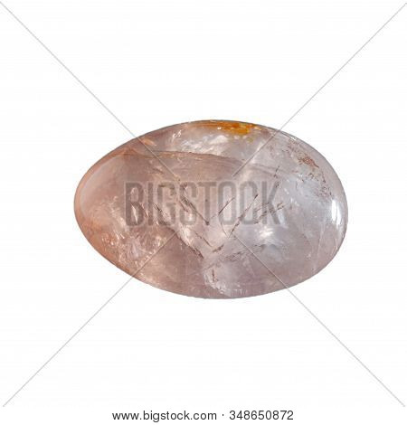 Rose Quartz Crystal Polished To The Shape Of An Egg Isolated On White Background