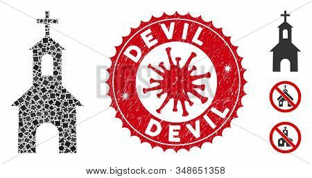 Mosaic Catholic Kirch Icon And Red Rounded Rubber Stamp Watermark With Devil Text And Coronavirus Sy