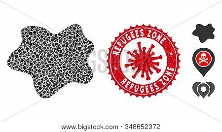 Collage Dirt Spot Icon And Red Round Distressed Stamp Watermark With Refugees Zone Text And Coronavi