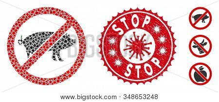 Mosaic Stop Swine Icon And Red Rounded Distressed Stamp Seal With Stop Phrase And Coronavirus Symbol