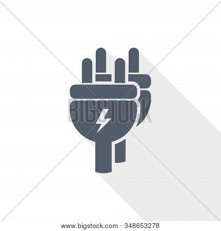 Eletricity Vector Icon, Flat Design Energy, Power, Plug Illustration In Eps 10