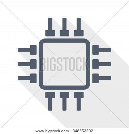Flat Design Chip Icon, Computer Concept Illustration