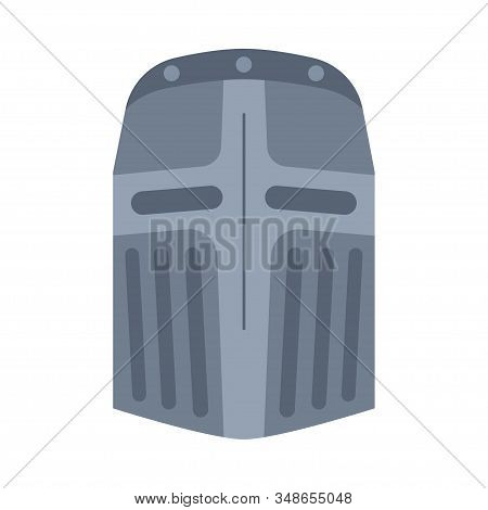 Cartoon Gray Metal Helmet. Medieval Festival Props. Fairy Tale Theme Vector Illustration For Icon, S