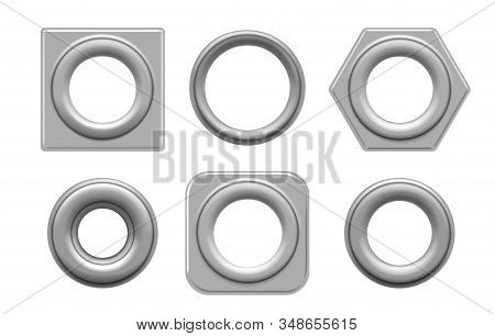 Eyelets And Grommets. Circular And Square Metal Eyelet Set Vector Illustration For Tag Design And Fa