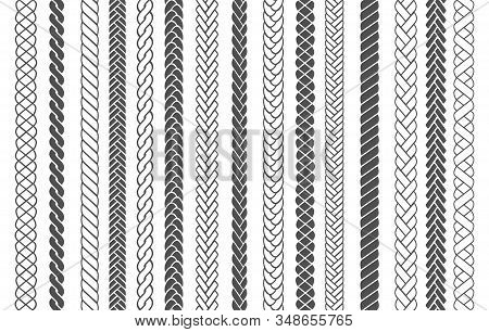 Textile Braids. Braid And Plait Fashion Patterns Vector Illustration For Brushes, Black Braided Thre